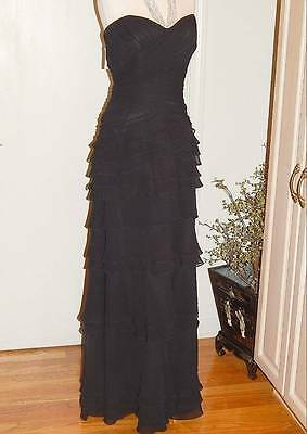 NEW JOVANI Sz 14 Floor Length Black Ruched Tiered Evening Gown Mother of The Bri
