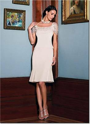 NWT Daymor Couture Dress Knee Length Cream Color Size 10