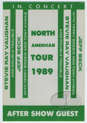 STEVIE RAY VAUGHAN 1989 TOUR BACKSTAGE PASS Jeff BECK