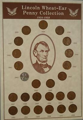 Lincoln Wheat Ear Penny Coin Collection 1934-1958 Complete Set Great 25 COINS