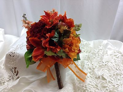 Fall wedding bridal bridesmaid bouquet lilies sunflower orange red Quinceanera