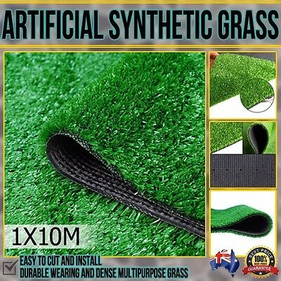 Artificial Fake Pretend Synthetic Grass 10 SQM Polypropylene Lawn Flooring 1X10M