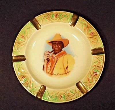 1950's Wembley Ware Australian Native Stockman Ashtray Good But Crazed Condition