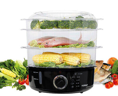 9L Steam Cooker Steamer 3 Tray 800W Power Dial Timer Healthy Stackable