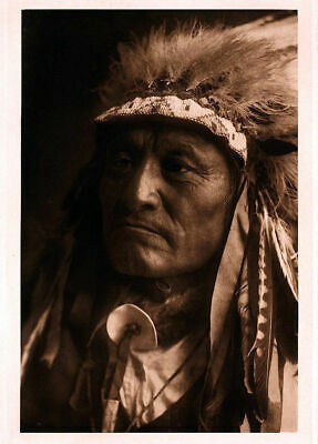 Native American Indian Chief Portrait Crazy Thunder Photo Art Print Picture