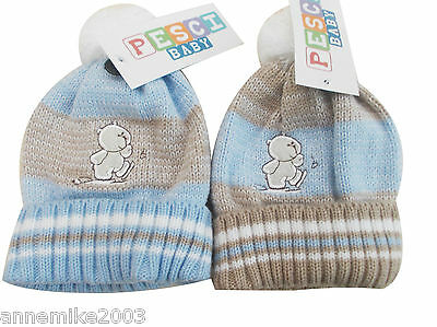BNWT boys warm winter teddy bear bobble hat 0-3 3-6 6-12 12-18 Months