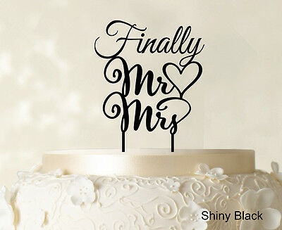 """""""Finally Mr And Mrs"""" Wedding Cake Topper Personalized Custom Name Cake Toppers"""