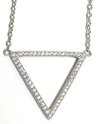Sterling Silver CZ Pave Triangle Pyramid Openwork Elegant Thin Chain Necklace