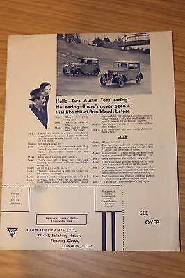 Austin Tens Racing Brooklands Original 1930's Gem Lubricants Advert with Card