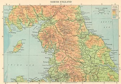 Vintage Colour Double Sided Map,england,north England/wales & Midlands 1950