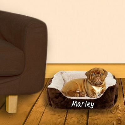 Personalised Cushioned Small Pet Bed - Brown