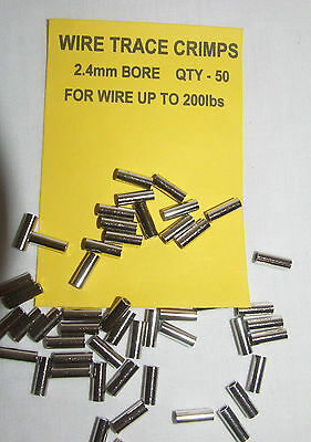Wire Trace Crimps 2.4mm for up to 200lb pack of 50 - Sea Predator Fishing