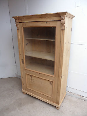 A Stunning Late Victorian Antique Pine 1 Door Glazed Display Cabinet to PaintWax