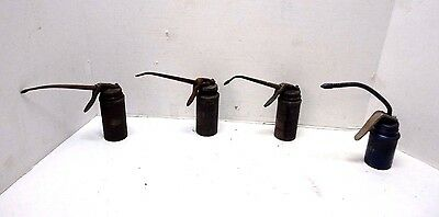 Lot of 4 Vintage Plews Oiler Oil Cans Long Nose Spout Trigger Grease Gun 1930's