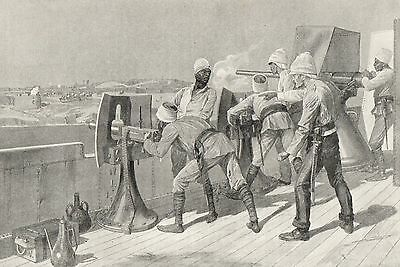 Antique Print,battle Of Omdurman, Firing At Dervishes 1898