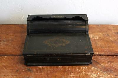 Antique 1800s Rare Painted Tambour Roll Top Lap Writing Travel Desk Drawer