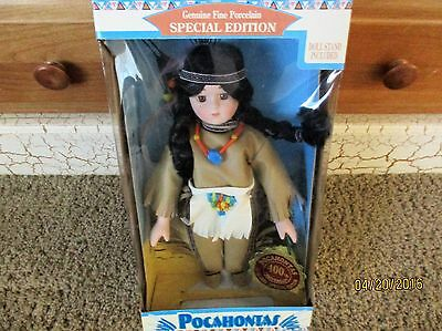 "Dan Dee Pocahontas Native American 13"" Porcelain Doll W/ Stand ""NEW"""