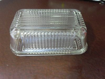 Clear Heavy Glass Butter Dish with Ornate Pattern