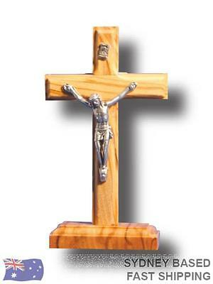 STANDING CRUCIFIX Religious Cross 11cm Metal & Wood BNWT