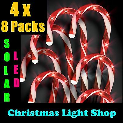 4x Sets 8 Solar LED Red & White Candy Canes Christmas Garden Path Lights Outdoor