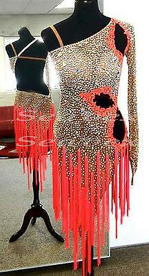 Women Ballroom Latin Rumba Salsa Dance Dress US 6 UK 8 Flesh Orange Lace Fringe