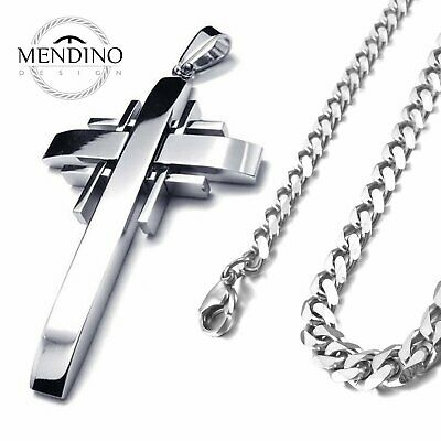 MENDINO Men's 316L Stainless Steel Pendant Necklace Cross Curb Link Chain Silver