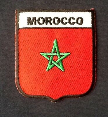 Morocco Moroccan National Country Flag Badge Iron Sew On Patch Crest Shield