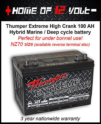 Thumper Extreme EXTHC100L 100AH Sealed NZ70 battery Toyota Hiace Hilux 4WD