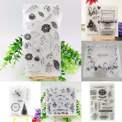 Sheet Flower Mixed Transparent Silicone Clear Stamp Cling Seal Scrapbooking DIY
