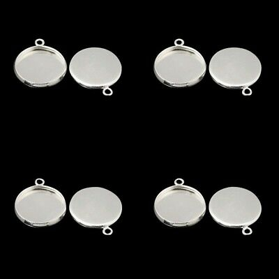 ❤ 10 x Silver Plated Blank Pendant TRAY Setting For 12mm Cabochon UK Stock ❤