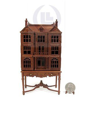 Miniature 1:144 Scale Doll House On Table / Dollhouse Cabinet-Finished In Walnut