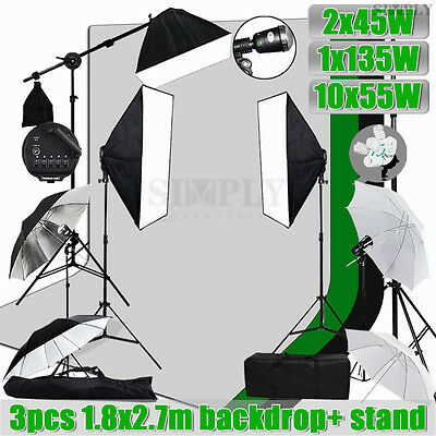 Photo Studio Softbox Umbrella Lighting Boom Arm Light Stand Muslin Backdrop Kit