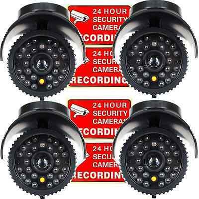 New 4 Pcs Fake Dome Security Camera Decoy CCTV with Flashing Red LED Light Dummy