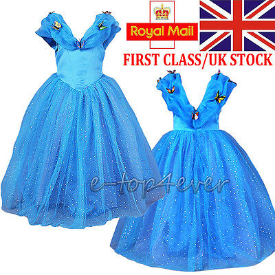 Girls Cinderella Fancy Dress Classic Queen Princess Cosplay Costume Party Outfit