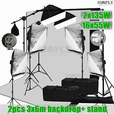 Photo Studio Softbox Continuous Lighting Boom Arm Light Muslin Backrop Stand Kit