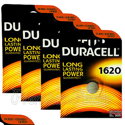 4 x Duracell Lithium CR1620 3V Coin Cell batteries DL1620 ERC1620 KRC EXP:2025