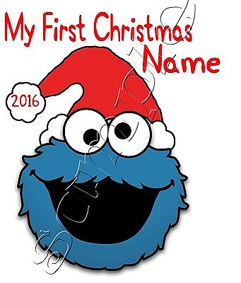IRON ON TRANSFER PERSONALISED MY FIRST CHRISTMAS COOKIE MONSTER SANTA 12x14cm