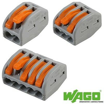 WAGO 222 series Spring Lever Push Fit Reuseable Cable Clamp 2,3,5 wire connector