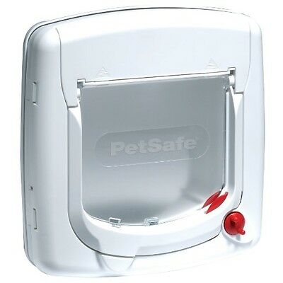 PetSafe Staywell Deluxe Manual 4 Way Locking Cat Flap - White, Cats Pet Door