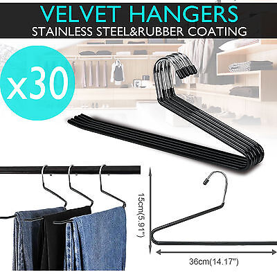 50 PCS Coat Clothes Hanger Nonslip Pant Trouser Tie Bar Space Saver Garment Rack