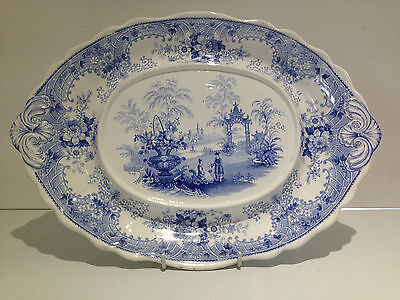 Antique Davenport Pottery Blue & White Canton Pattern Tureen Stand Under Plate