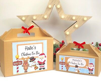 Personalised Christmas Eve Gift Box Kraft Brown Present Activity Pack Stocking
