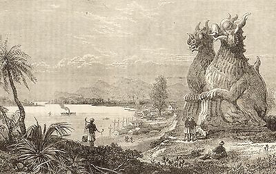 Burma, Irrawaddy, On The Banks Of Irrawaddy, Antique Engraved Print 1897