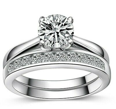 925 Sterling Silver Solitaire Ring Women's Wedding Engagement Promise Band Set