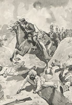 Antique Print,sikh War, Battle Of Sobraon, Light Dragoons 1846