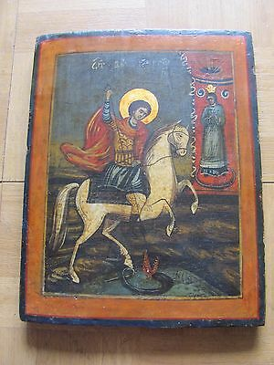Antique Russian Icon St. George On The Horse Is Killing  The Dragon