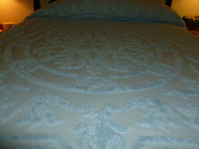 vintage wonderful queen size blue chenille bed spread.