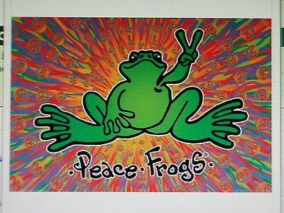 New Peace Frogs Green Frog Poster