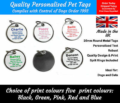 2 Cheap Pet Dog Cat Tag Tags ID Identity Collar Disc Personalised Customised