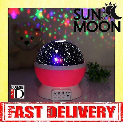 Baby Cot Nursery Star Sun Moon Night Light Projector Dreamshow Lamp Show in PINK